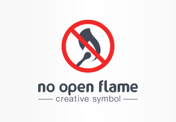 No open flame creative symbol concept. Warning fire prohibition abstract business safe logo. Blaze source caution, fireball danger burn shape icon.