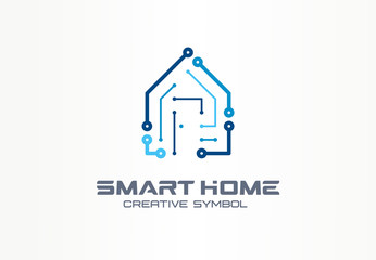Smart home creative symbol technology concept. Safety automation building system in abstract business construction logo. Digital house control icon.