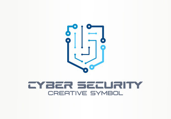 Cyber security creative symbol technology concept. Smart digital shield in abstract business logo. Circuit board protection, privacy firewall icon