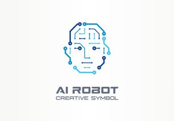AI robot technology creative symbol machine concept. Digital bionic cyborg face abstract business future logo. Smart humanoid, vr electronics icon.