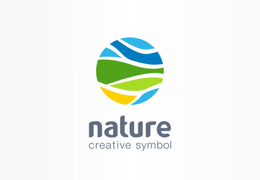 Nature creative symbol planet concept. Organic farm field abstract business agriculture logo. Eco friendly environment, fresh water, bio food icon.