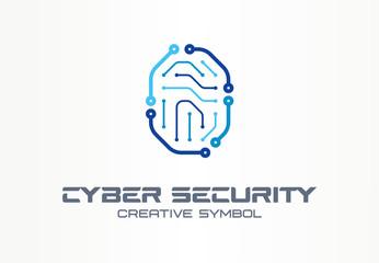 Cyber security creative symbol concept. Digital lock, thumb fingerprint, id access control abstract business logo. Circuit, smartphone unlock icon.