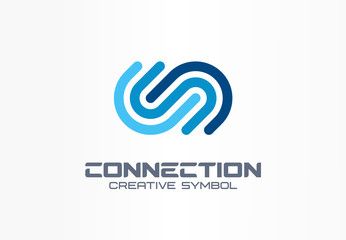 Digital connect creative symbol concept. Community join, integration, web network abstract business logo. Internet technology, communication icon