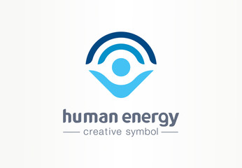 Human energy creative symbol medical concept. Harmony lifestyle abstract business healthcare logo. Person protection, body power grow wellness icon.