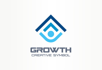 Growth creative symbol concept. Human professional progress abstract business leader logo. Person career success, best education, arrow shield icon
