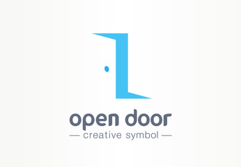 Open door, in and out creative symbol concept. Enter, exit, real estate agency abstract business logo. Home furniture, room interior, doorway icon.
