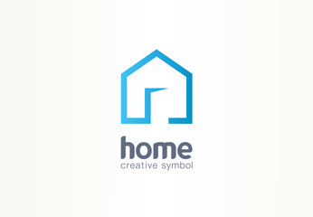 Home creative symbol concept. Open door, building enter, real estate agency abstract business logo. house interior architecture, website login icon.