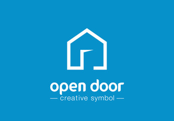 Open door creative symbol concept. Home button, build architecture, real estate agency abstract business logo. House interior, web site login icon
