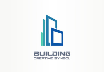 Office building creative symbol concept. Modern skyscraper, 3d architect, construction silhouette abstract business logo. Cityscape, apartment icon.