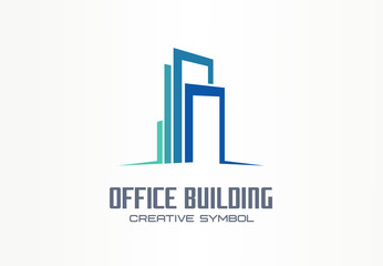 Office building creative symbol concept. Finance center, city downtown, street skyline abstract business logo. Modern apartment, real estate icon