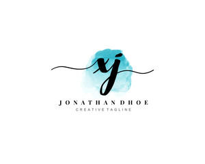 X J Initial watercolor logo on white background. Logo template vector