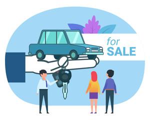 Car seller, dealer. Man and woman buying a new car. Poster for social media, banner, web page, presentation. Flat design vector illustration