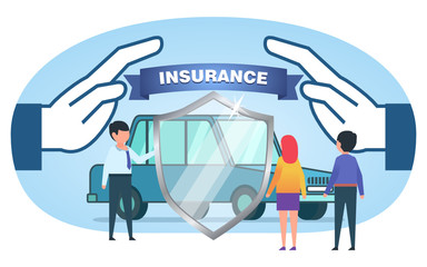 Car insurance, security, protection. People stand near car, shield. Poster for social media, banner, web page, presentation. Flat design vector illustration