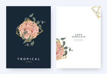 Minimalist invitation card template design, tropical plants and red dahlia flower in golden polygon geometric shape on dark blue background, pastel vintage style