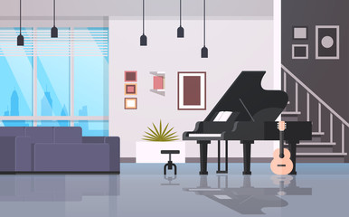 contemporary home hall musical instruments piano guitar empty house room modern apartment interior flat horizontal
