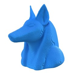 Blue  voxel Anubis head on a white background.