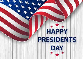 Happy Presidents Day background template. United States Happy president's day - poster with flag of the USA.