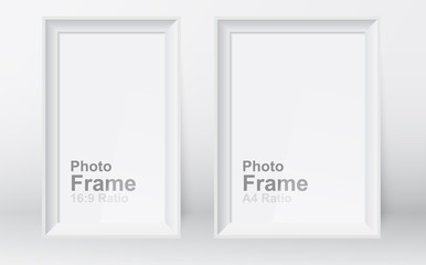 Realistic picture frame isolated on white background. 3D picture frame design vector for A4 and 16:9 ratio