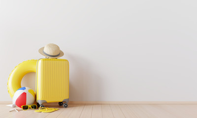 Wall Mural - Yellow suitcase with beach accessories  on wooden floor. summer travel concept .3d rendering