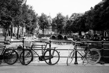 bicycles on the street. Amsterdam.