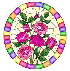 Illustration in stained glass style with a bouquet of pink  roses on a yellow  background in a bright frame,oval  image