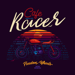 Original vector illustration in neon style cafe racer motorcycle. T-shirt design
