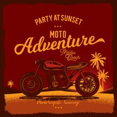 Vintage poster. Motorcycle on beach. Vector illustration. T-shirt design
