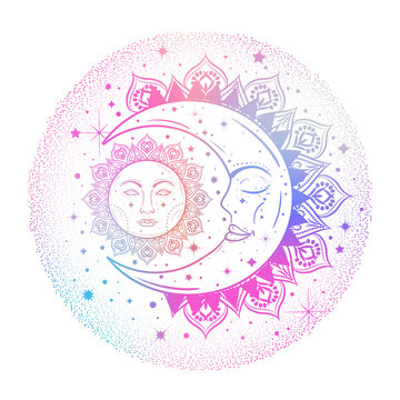 Sun eclipse concept. Vector illlustration of astronomy and astrology symbol in pastel colors. 80-90s style