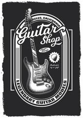 Original vector guitar poster in vintage style.