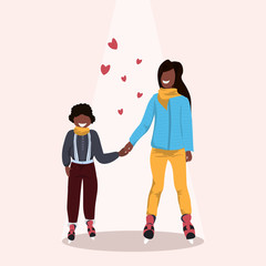 mother and son skating ice rink african american family wearing winter clothes holding hands holiday activities concept female male cartoon characters full length flat
