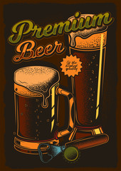 Vector retro poster premium beer of the highest quality.