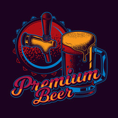 Original vector illustration in neon style. Beer mug on the background of the lid and beer tap