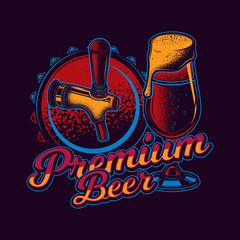 Original vector illustration in neon style. Beer glass on the background of the lid and beer tap