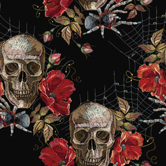 Embroidery skull and red roses, spider and web seamless pattern. Dark gothic art. Halloween background. Clothes template and t-shirt design