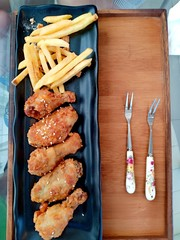 French fries and chicken fries at coffee shop