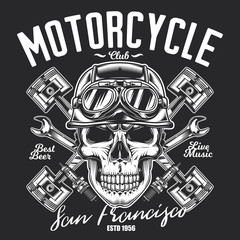 Monochrome vector illustration in vintage style. Skull in a helmet on the background of wrenches and pistons. Design of t-shirt, poster, emblem