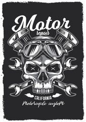 Skull in motorcycle glasses on the background of wrenches and engine. Vintage vector poster. T-shirt design, emblems