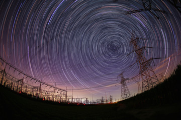 High-voltage towers and stellar trajectories