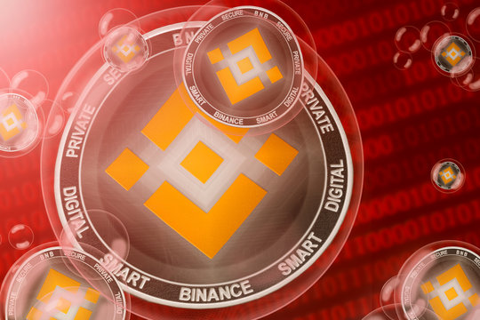 Binance crash; binance coins in a bubbles on the binary code background. Close-up.