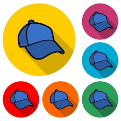 Cap icon or logo, Baseball Hat Icon, color set with long shadow
