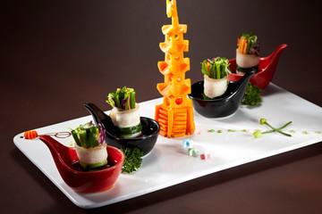 Delicious Chinese cuisine, vegetable pork rolls