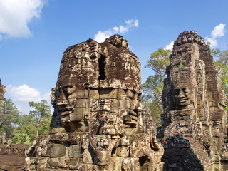 Faces of the Bayon temple in the Angkor Wat in Seam Reap City, Cambodia in 2012 , 9th  December.