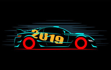 stylized silhouette sports dtm car coupe, vector illustration