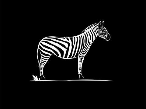 simple silhouette outline zebra animal