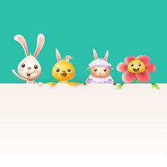 Easter characters bunny chicken sheep and flower on top of billboard - isolated on turqouise background