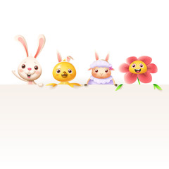Easter characters bunny chicken sheep and flower on top of billboard - isolated on white background