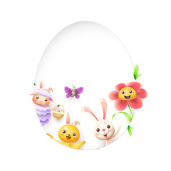 Easter friends sheep bunny chicken butterfly and flower peeking behind egg shape hole on white background