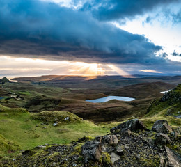 Sunrise over the Quiraing on the Isle of Skye in Scotland - United Kingdom