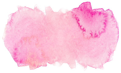 pink watercolor texture. blot on white background solid water color painting