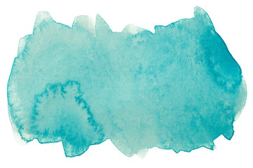 watercolor texture color aquamarine blue. 321c color on paper texture on white background. solid water color painting